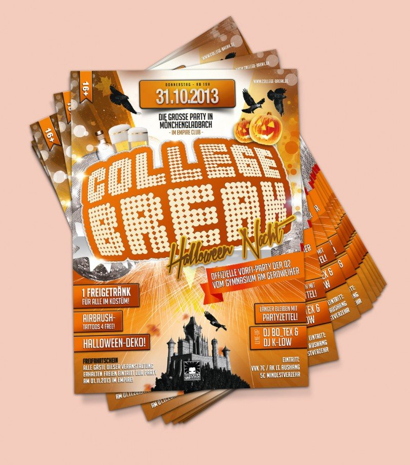 Dieser Flyer ist unser Entwurf für eine Halloweenparty der Reihe College Break.
