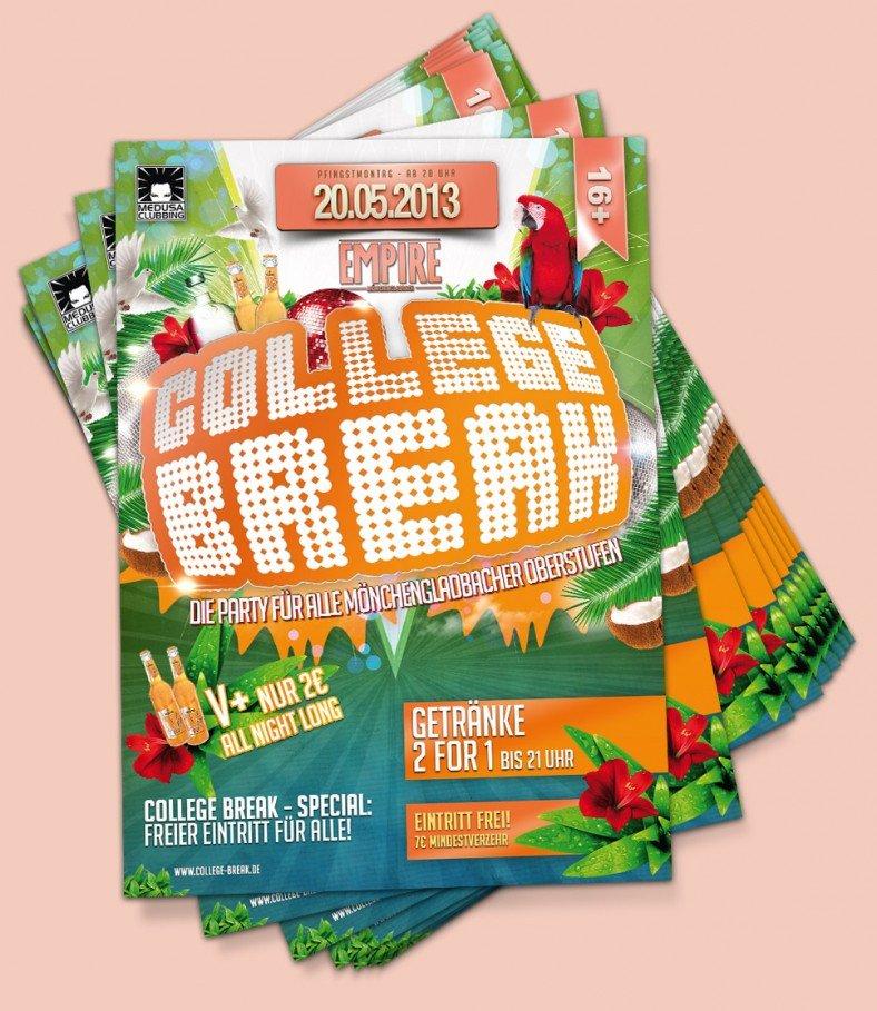 Erscheinungsbild des College Break-Flyers in tropischen Farben
