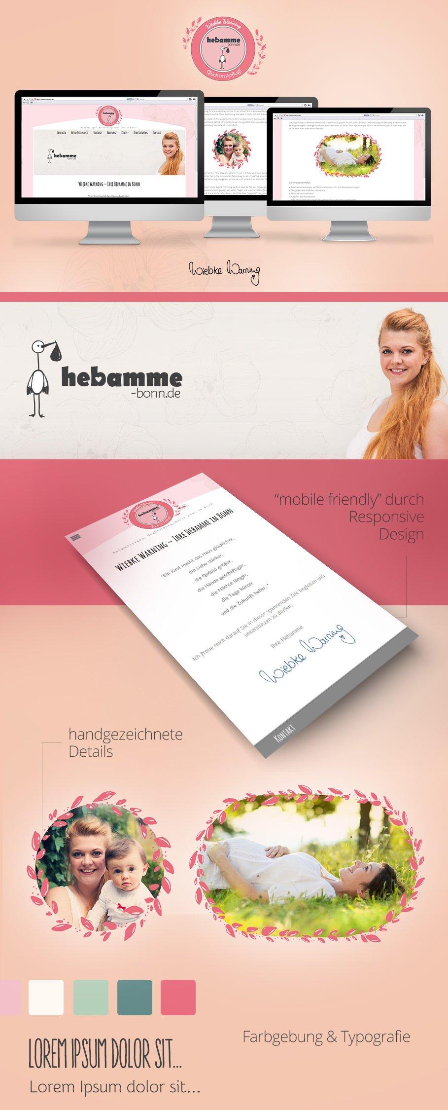 Webdesign für Hebamme Wiebke Warning aus Bonn